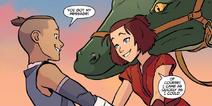 Sokka and Suki are reunited in Cranefish Town