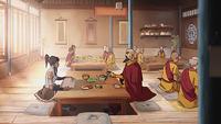 Tenzin, Korra, Acólitos en el templo