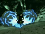 Azula se impulsa con su fuego azul