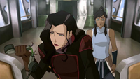 Asami and Korra in the cockpit