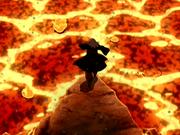 Roku luchando contra el volcán