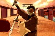Zuko rompe una roca con sus espadas