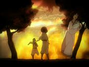 Jet's village burns