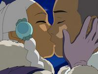 Sokka and Yue kiss