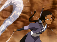 Katara uses the water whip