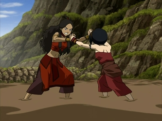 File:Katara and Toph wrestle.png