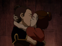 Sokka and Suki kiss in prison