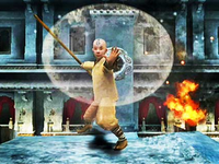 Aang airbending in The Last Airbender game