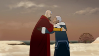 Tenzin and Katara hug