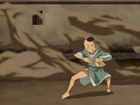 Boy playing earthbending ball