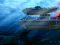 Waterbending-powered submarine side-view