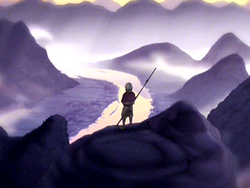 Aang standing on mountain