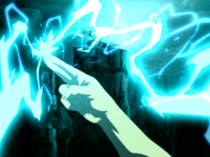Aang redirects lightning