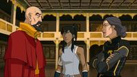 Tenzin, Lin und Korra besprechen die Lage
