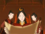 Ursa con Zuko y Azula leyendo una carta