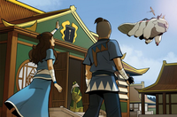 Katara and Sokka wave off Aang