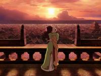 Aang and Katara's finale kiss