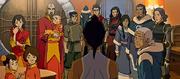 Pema, Rohan, Ikki, Jinora, Bolin, Korra, Mako, Asami, Tonraq, Senna, Katara y Lin en el Polo sur