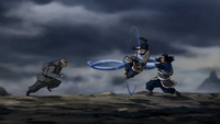 Tonraq y Korra atacando a Zaheer