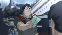 Bolin giving Korra a letter
