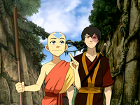 Aang and Zuko in the Sun Warrior city