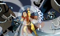 Aang fights Gilak's warriors