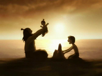Iroh, Zuko, and Lu Ten at the beach