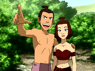 File:Sokka and Suki in beach clothes.png