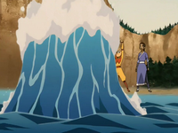 Aang creates a wave