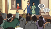 Sokka confronts a crowd