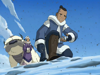Sokka inspects the soot