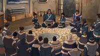 Tonraq hablando con la gente de la tribu