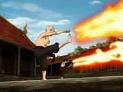 Aang y Zuko entrenando