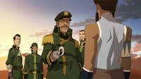 Korra and the airship crew
