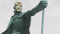 Aang's statue with Equalist mask
