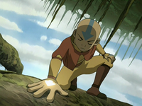 Aang using the vines' connection