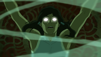 Korra enters the Avatar State