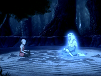 Aang speaks to Kuruk's spirit