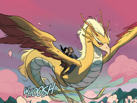 Korra and Asami riding the dragon bird spirit