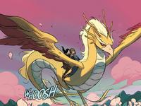 Korra and Asami riding the dragon bird spirit