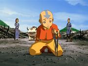 Aang traurig über verbrannten Wald