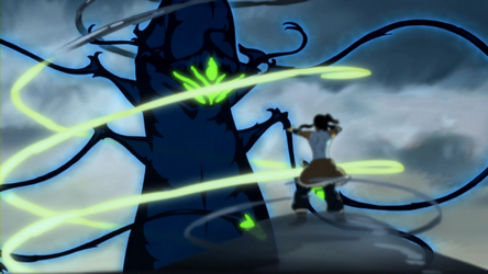 File:Korra trying to calm a dark spirit.png