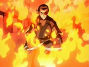 Zuko rodeado por llamas