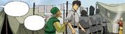 Kohlkopfhändler spricht Satoru an, Jingbo verteilt Essen