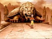 Piloto - Aang y estatua de león tortuga