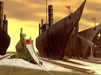 Zuko's ship at the Earth Kingdom harbor