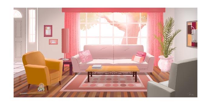 Unique Minimalist Living Room Apartment Illustration - Living Room ...