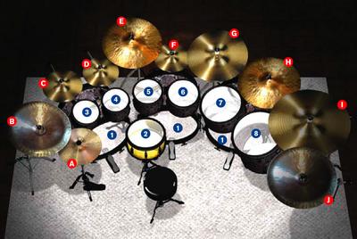 The Rev's drum kit