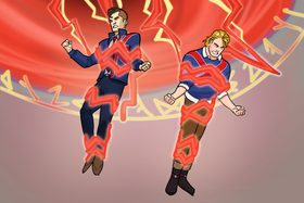 Brian Braddock (Earth-TRN562) and Brian Falsworth (Earth-TRN562) from Marvel Avengers Academy 001