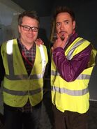 Robert Downey Jr. am Set von die Avengers